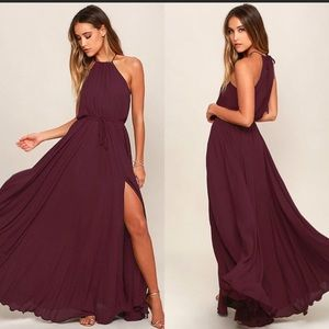 Lulu's essence of style plum purple maxi dress